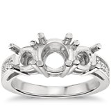 Three Stone Pave Diamond Engagement Ring in Platinum (1/4 ct. tw.)